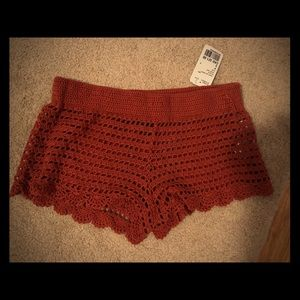 BMWT crochet knit beach shorts cover up S